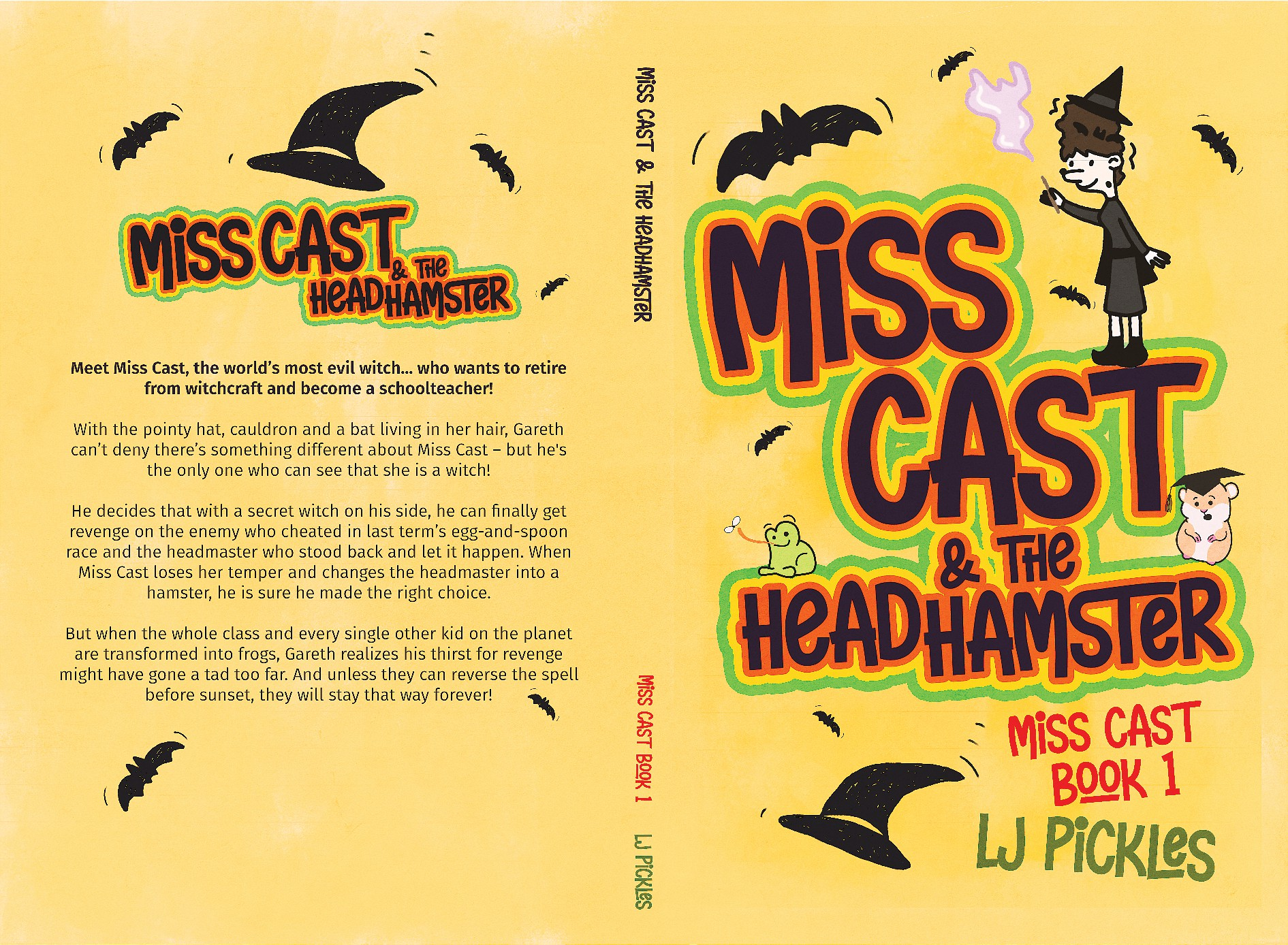 Funny kid's book cover - about a retired witch causing mayhem in school