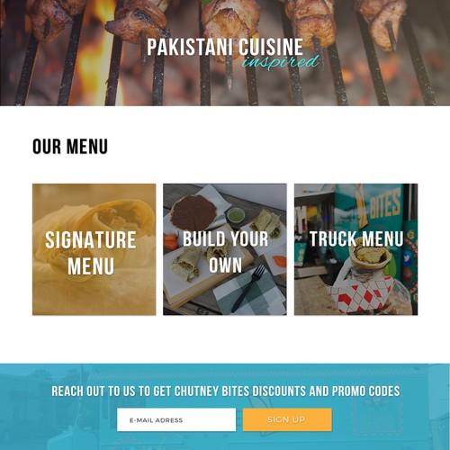 Landing Page Concept for Chutney Bites