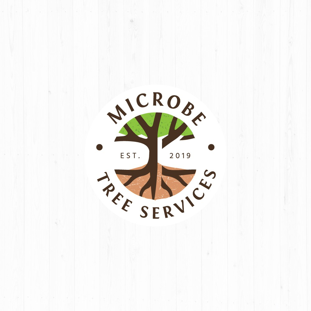 Create a logo connecting the realms of soil and tree canopies.
