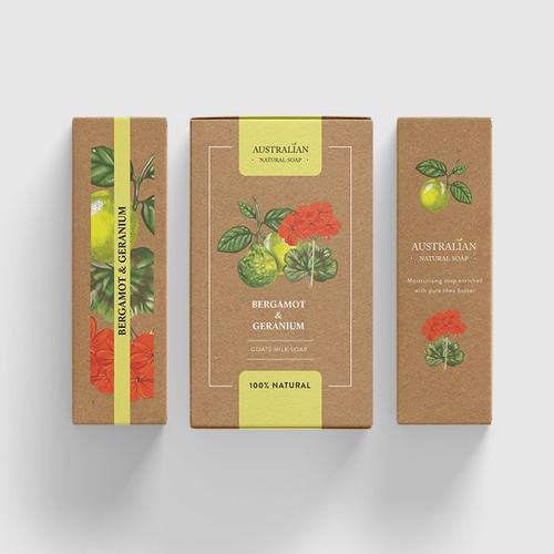 Botanical illustrated soap packaging design