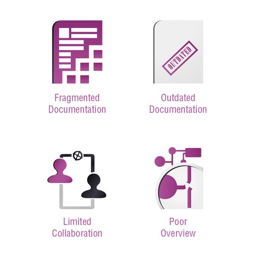 Modernize four simple icons for a Software Startup.