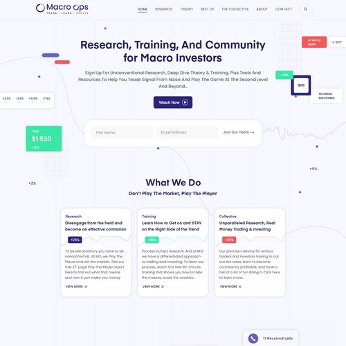 Home page for a macro investing research firm