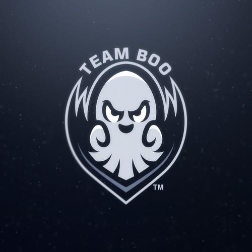 Team boo - cute spooky mascot logo