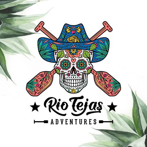 Sugar skull meets cowboy style logo for Rio Tejas Adventures