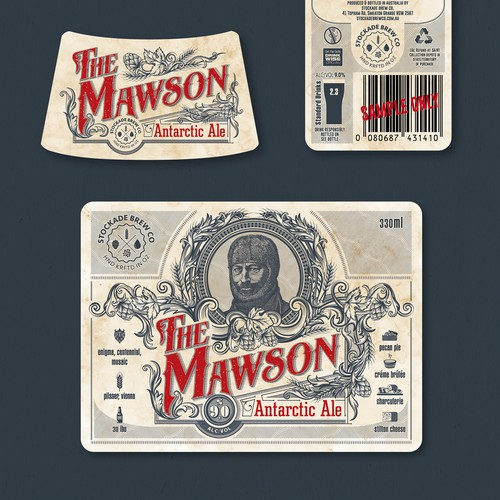 """The Mawson"" - ""Antarctic Ale"" vintage style beer label design"
