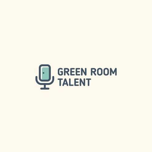 Creative logo for speaker coaching agency called Green Room Talent