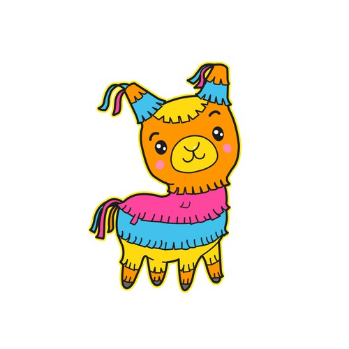 Adorable & Colorful Piñata Llama mascot