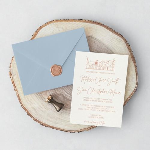 Hand illustrated wedding venue invitation