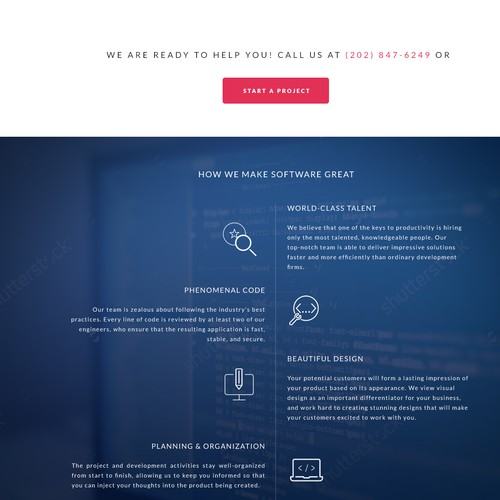 Web design concept for software development company