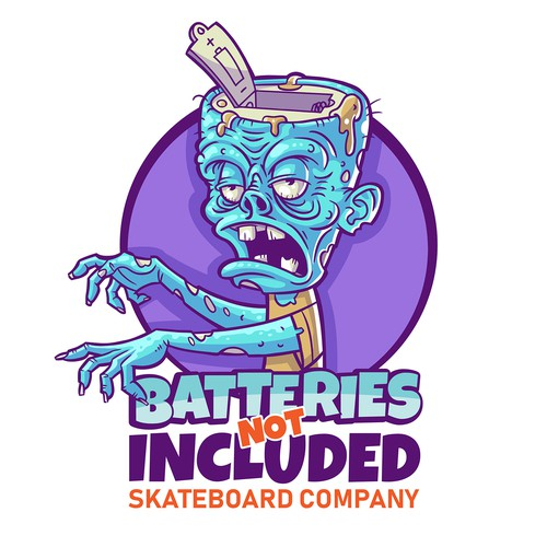 Hand drawn look vector Zombie Illustration for Skateboard Company