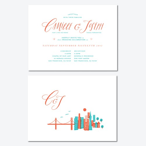 Stylish San Francisco wedding invitation! Pinterest board and lots of feedback provided :)