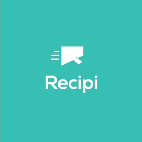 Clean minimalist logo design Recipi