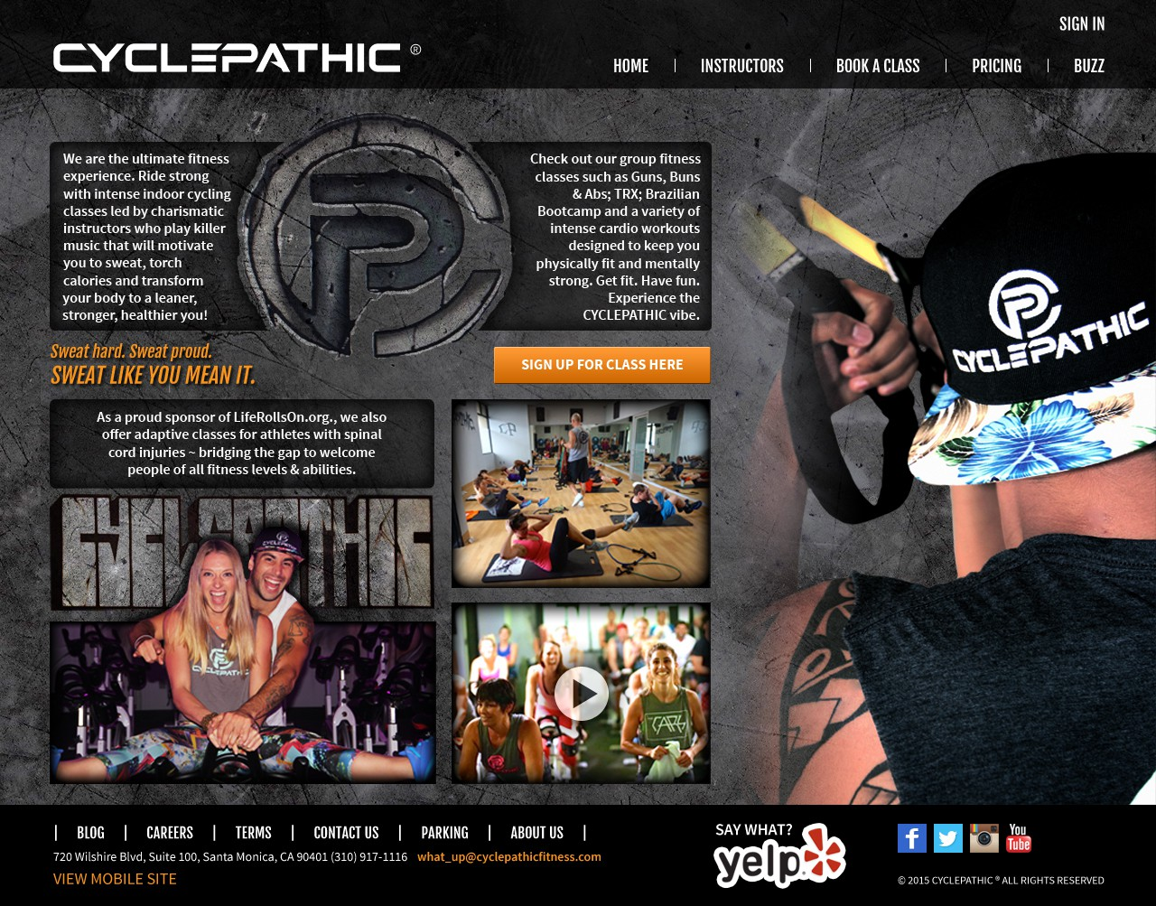 Create an edgy Home Page for our fitness studio, CYCLEPATHIC