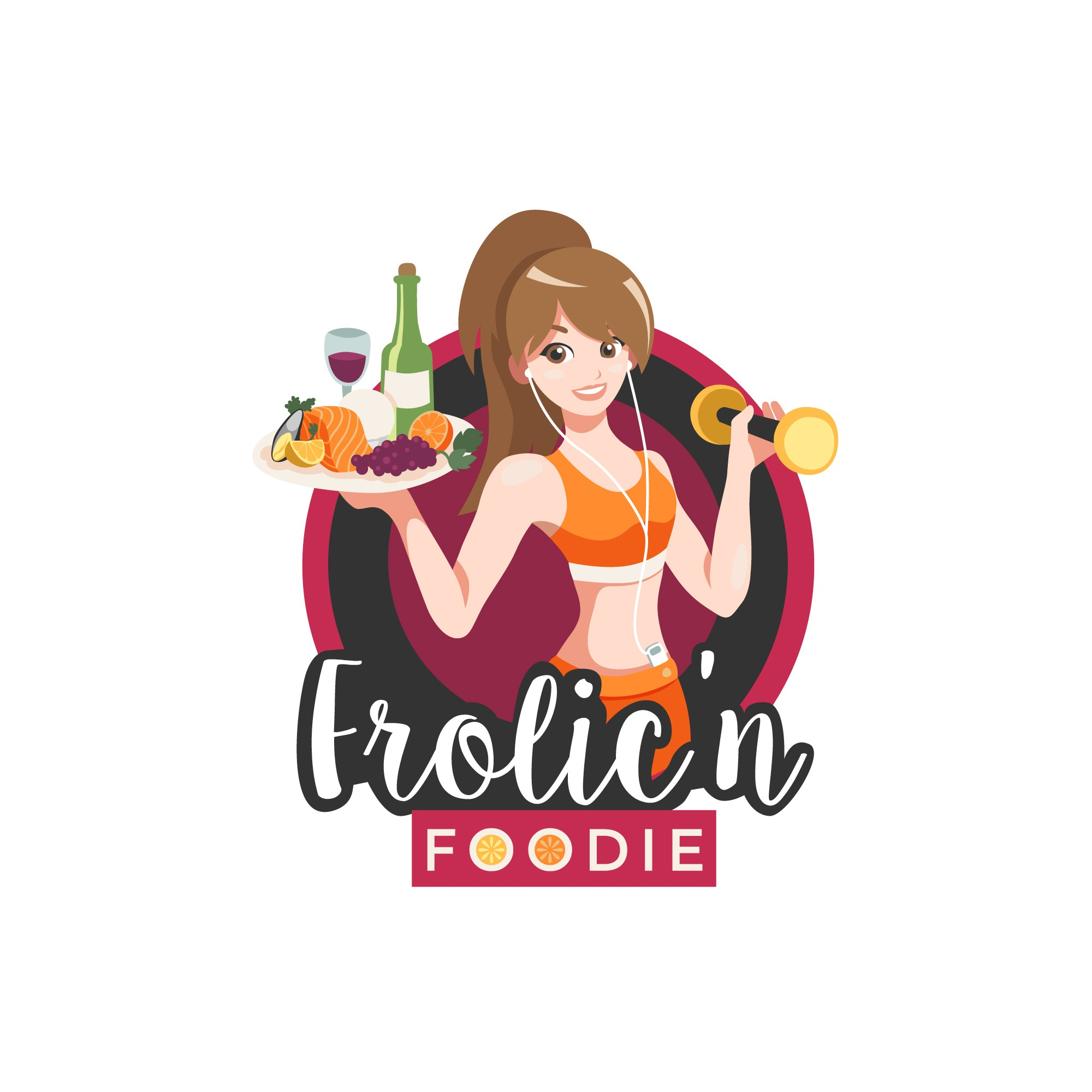 "Create a ""fun"" logo that illustrates a girl seeking adventures in fitness, food and wine"
