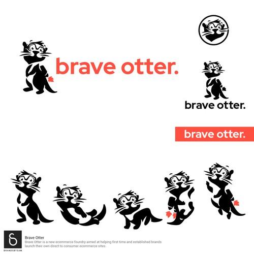 Brave Otter logo and mascot design