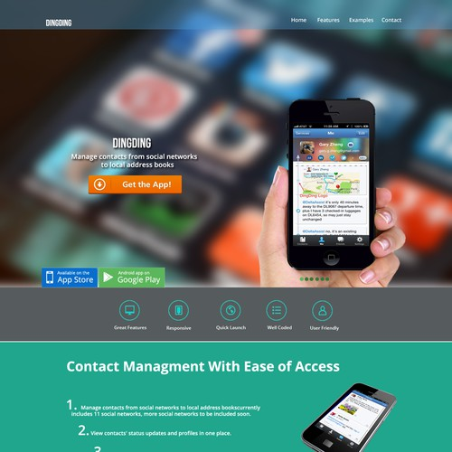 landing page for iphone App