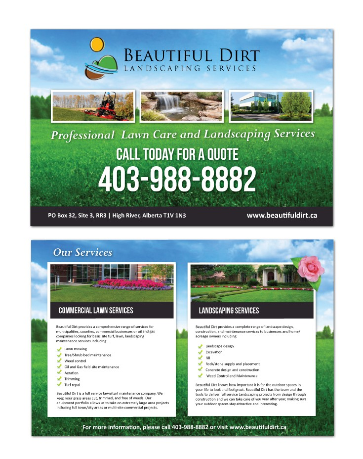 New flyer or brochure wanted for Beautiful Dirt Landscaping Services