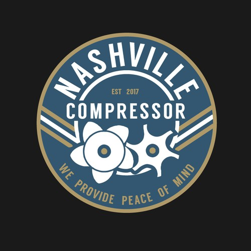 Vintage logo for  industrial air compressors seling and service business