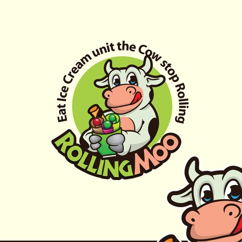 logo and character design for Rolling Moo ice cream