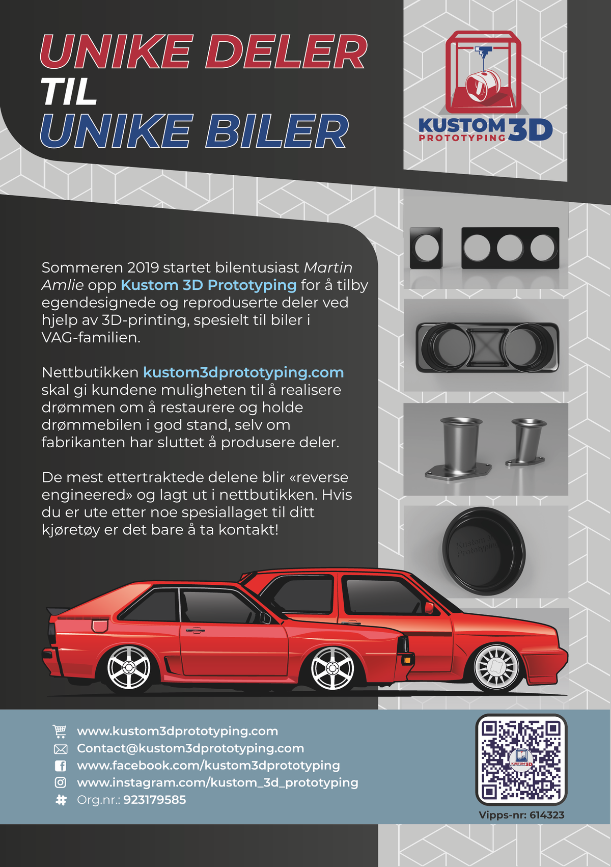 A5 flyer for Kustom 3D Prototyping -  3D printing car parts.
