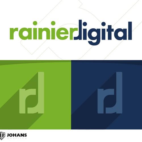 Create a fun and modern logo for RainierDigital