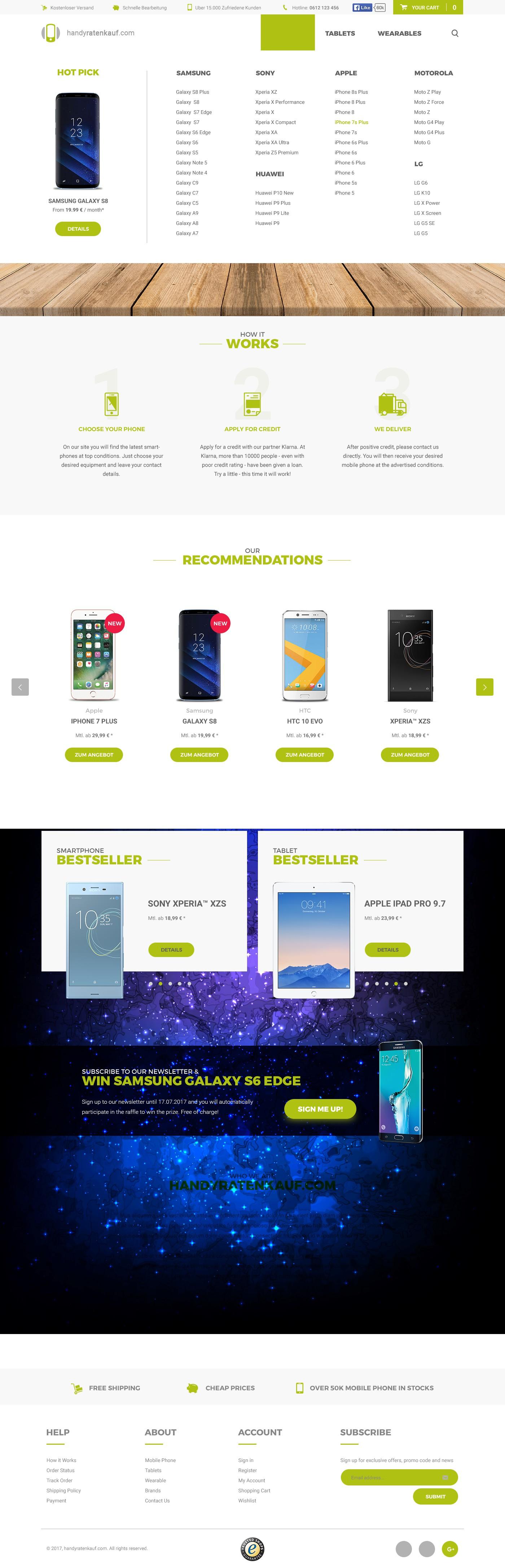 handyratenkauf.com Shop Design