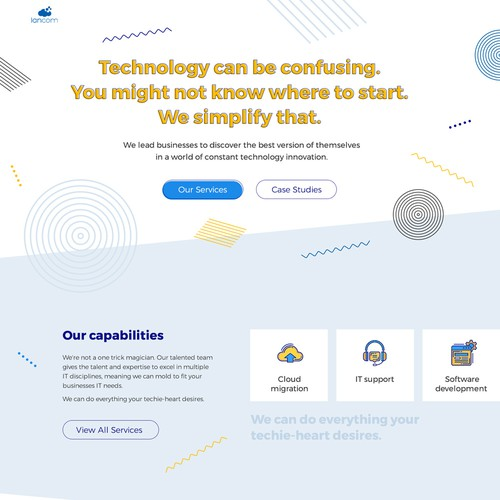 Home Page Design for IT Support and Software Development Company