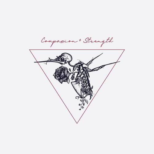 Skeleton Hummingbird t-shirt design