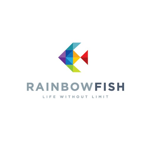 Modern & geometric, colorful fish logo