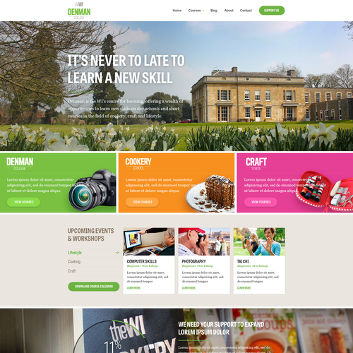Website design for Denman College