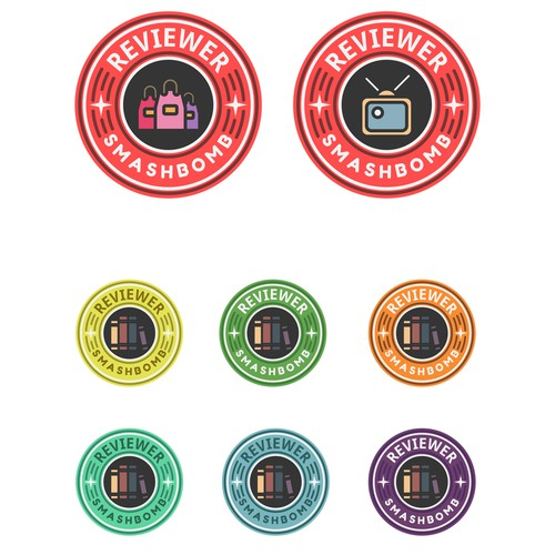 Set of achievement badges for social network for reviewers