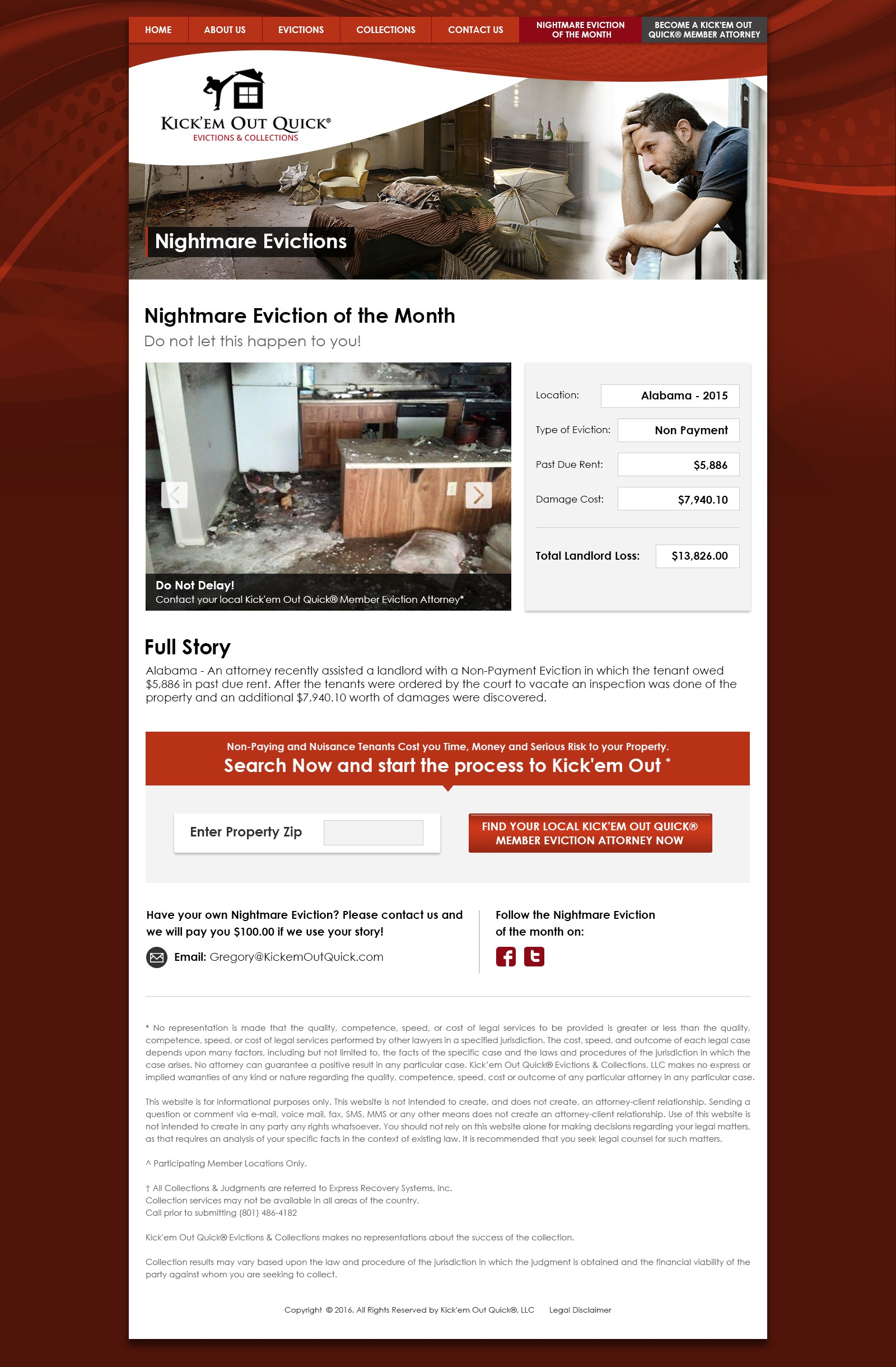 """Redesign of """"Nightmare Eviction of the Month"""" Web Page in Desktop / Tablet / Mobile Versions"""