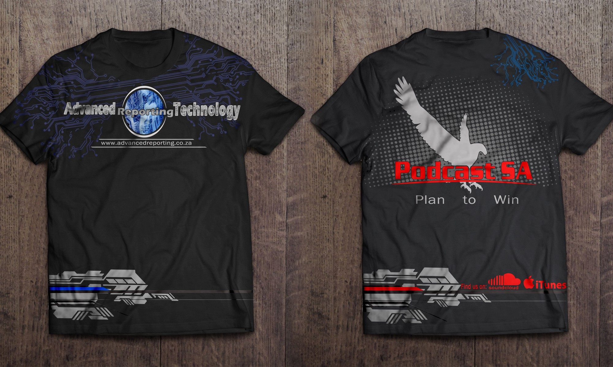 Create a new technology look T shirt for Financial Reporting and Podcast business