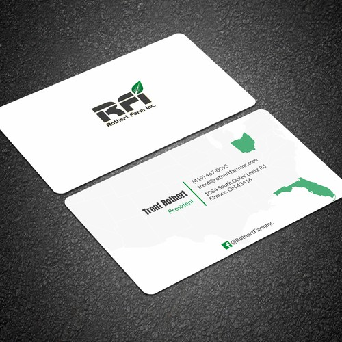 Business card for Farming company operational in multiple states