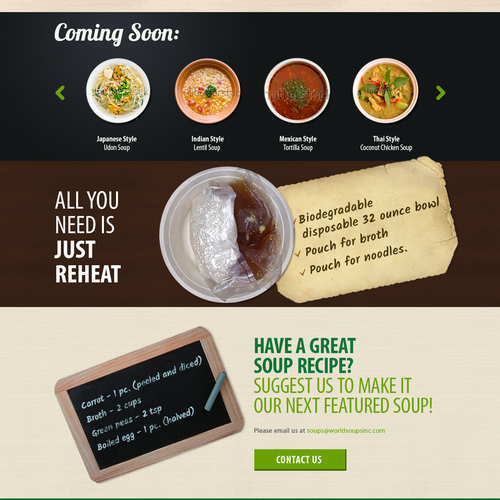 Create a tasty website for a new soup company