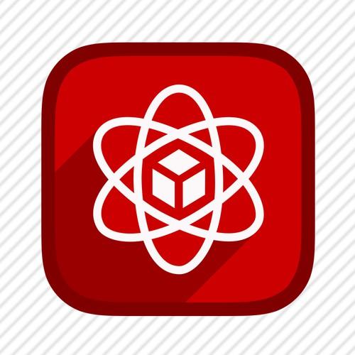 App icon featuring atom symbol