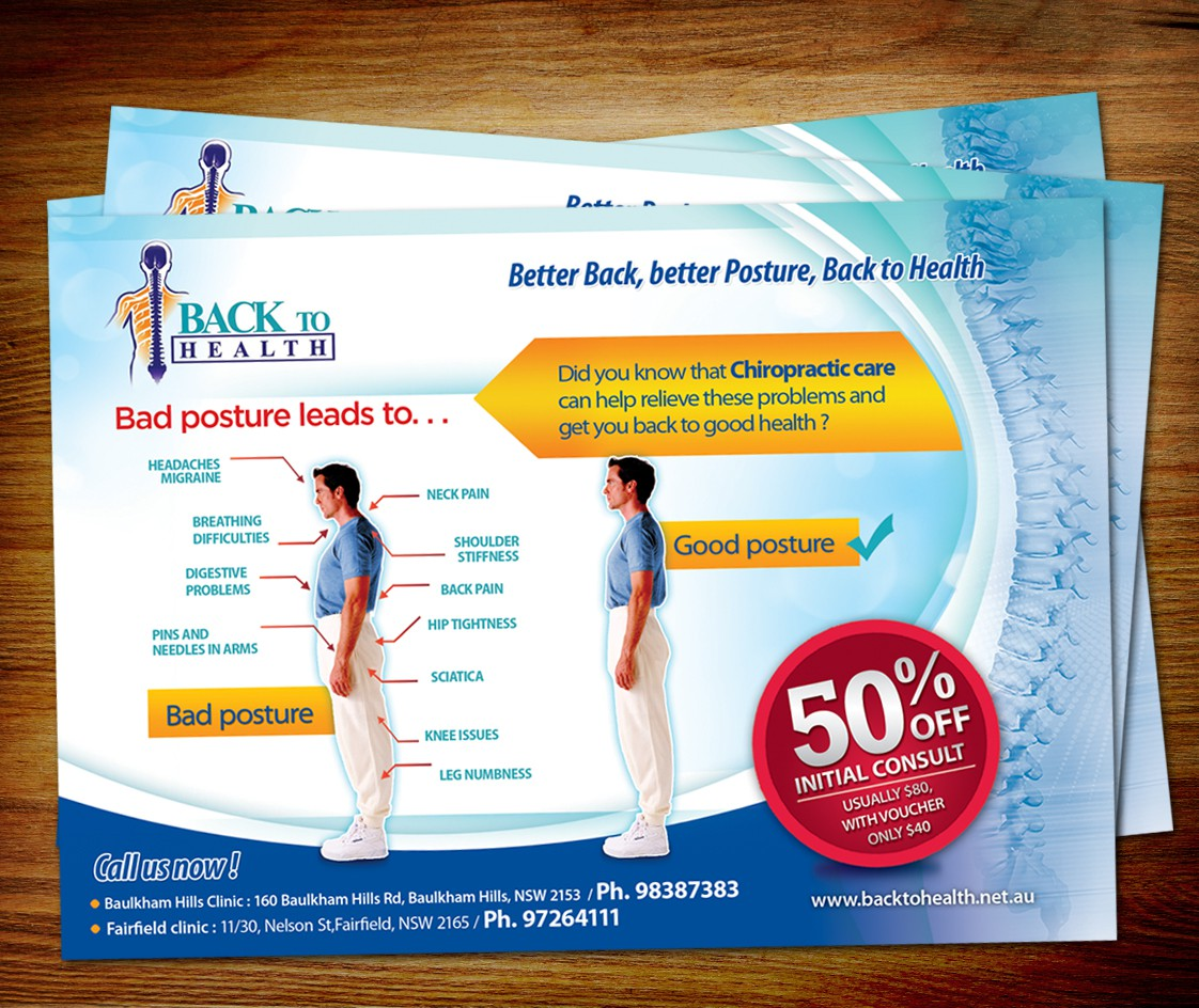ATTRACTIVE Posture correction Flyer for Back to Health Chiropractic