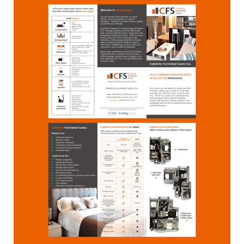 Create the next brochure design for Celebrity Furnished Suites Inc.