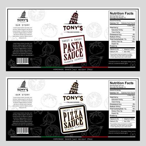 Design a Product Label for an Italian Foods Brand