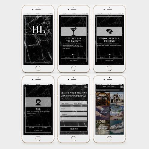 Haute Living app design