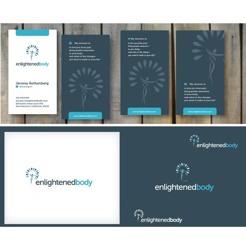 New Direction! Clean, simple, playful logo / business card for Enlightened Body