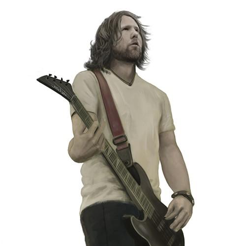 Bass guitar illustration for Music Website