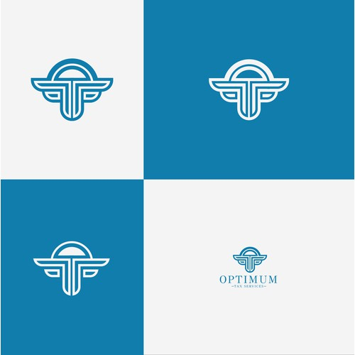 cretive modern sleek logo for Optimum Tax Service