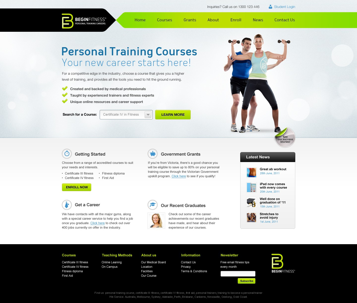 Create the next website design for Begin Fitness