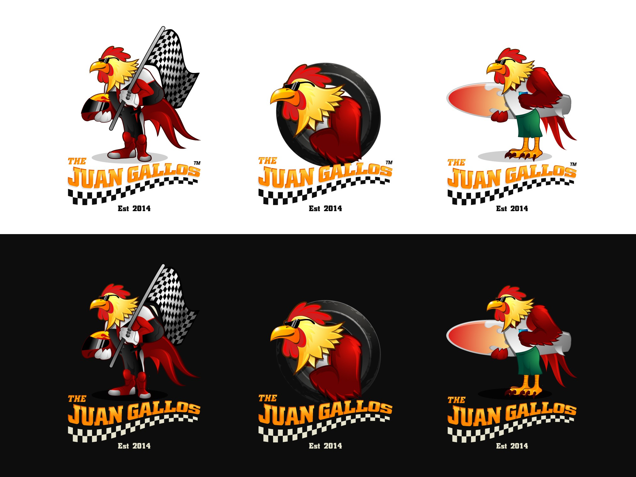 Create bold fun game cock character for an action sport clothing company