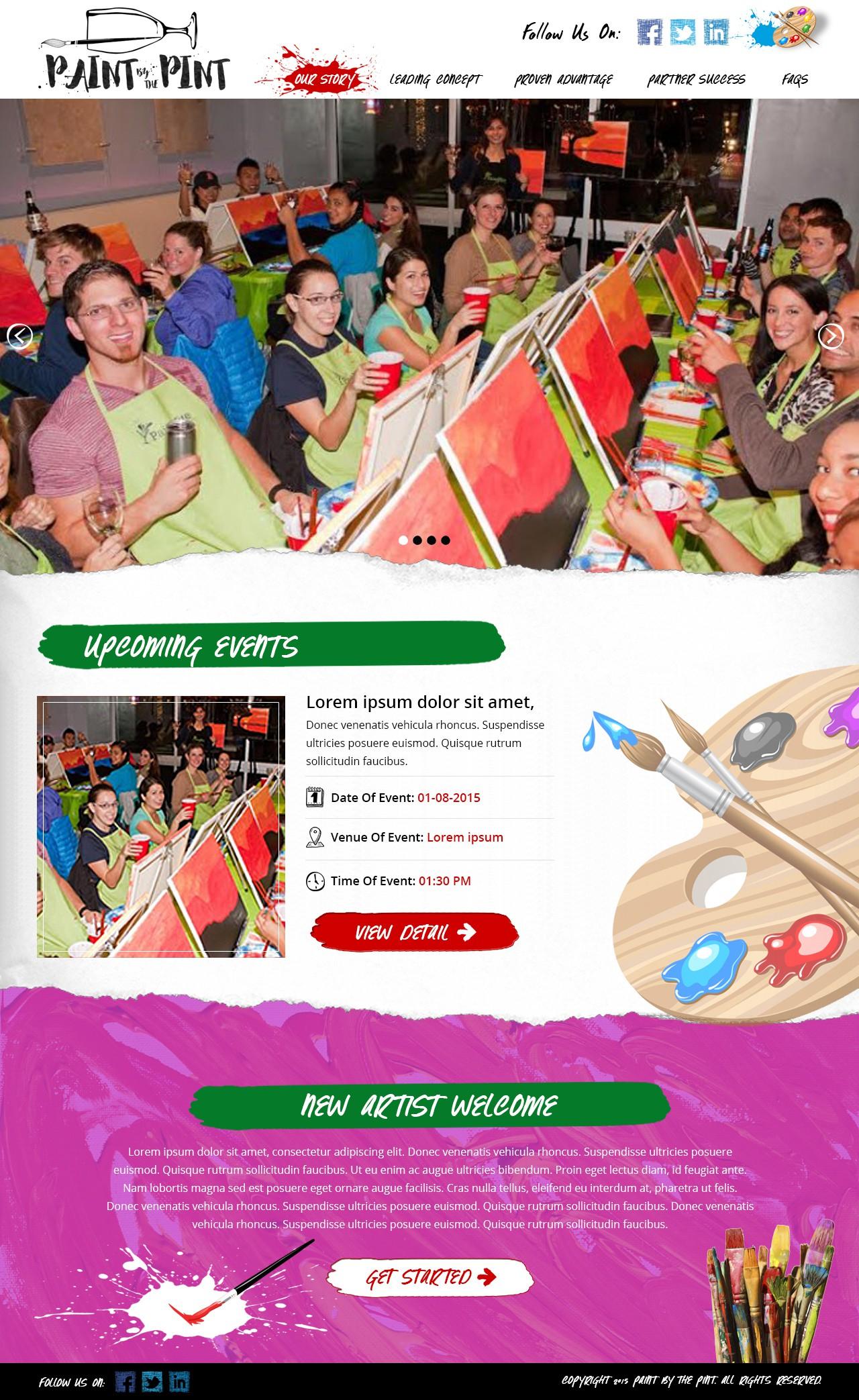 Design a landing page for fun, creative art evenings!