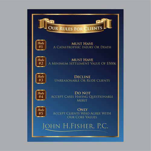 """One Page Graphic Design for Law Firm's """"Rules for Clients"""""""