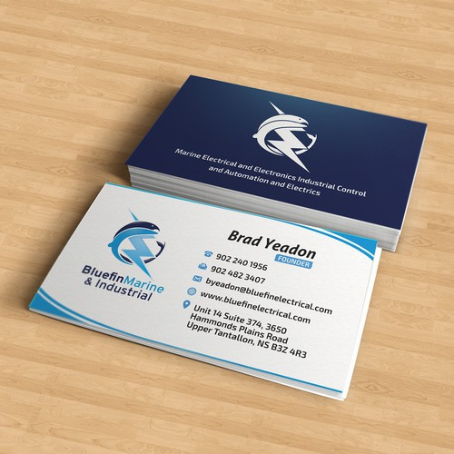 Create a new business card and logo for Bluefin Marine & Industrial