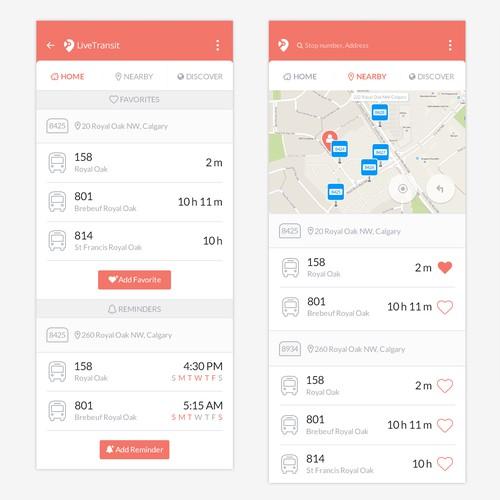 Transit app UI design