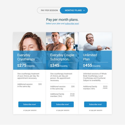 Pricing page for Cryotherapy business